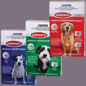 Nuheart Heartworm Tablets -Small, Medium, Large dog packs